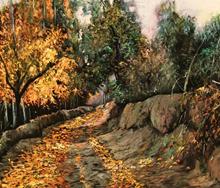 کوچه باغ (نقاشی رنگ روغن روی مخمل) توسط علیرضا زارع