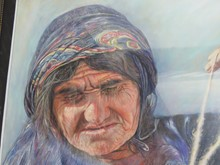 پیرزن نخ ریس (نقاشی پاستل) توسط آقای علیرضا زارع