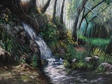 آبشار (نقاشی رنگ روغن روی مخمل) توسط علیرضا زارع