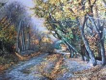 باغ در پاییز (نقاشی رنگ روغن روی مخمل) توسط علیرضا زارع