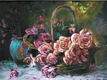 سبد گل (نقاشی رنگ روغن روی مخمل) توسط آقای علیرضا زارع