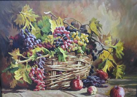 انگور در سبد (نقاشی رنگ روغن روی بوم) توسط علیرضا زارع