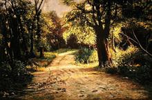 راهرو باغ (نقاشی رنگ روغن روی مخمل) توسط علیرضا زارع