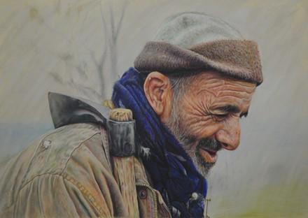 پیرمرد و تبر (نقاشی پاستل 70 در 50) توسط علیرضا زارع