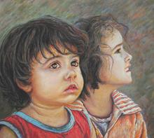 دو نگاه (نقاشی پاستل) توسط آقای علیرضا زارع