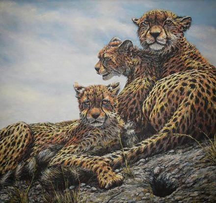 نقاشی یوزهای بازیگوش - پاستل توسط علیرضا زارع