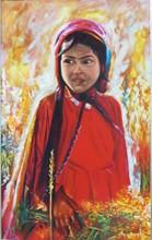 دختر روستا (نقاشی رنگ روغن روی مخمل) توسط علیرضا زارع