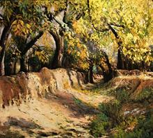 کوچه باغ 2 (نقاشی رنگ روغن روی مخمل) توسط علیرضا زارع