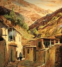 ده در دامنه (نقاشی رنگ روغن روی مخمل) توسط علیرضا زارع